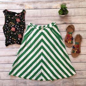 Anthropologie Postmark Spearmint Stripe Skirt 0